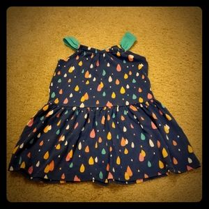 Blue raindrop sleeveless dress
